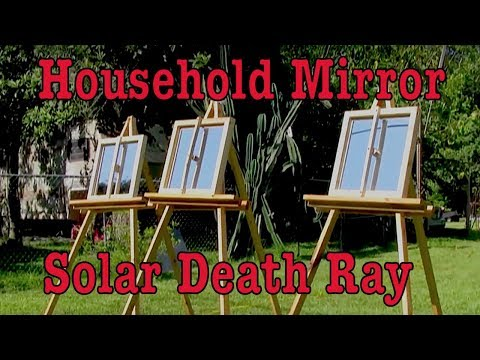 Household mirror hack to Archimedes Death Ray solar mirror heat power