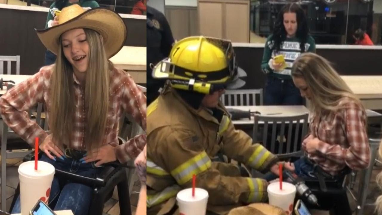 15-Year-Old Laughs About Getting Stuck in High Chair