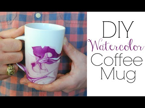 Watercolor Coffee Mugs - Easy DIY Gifts