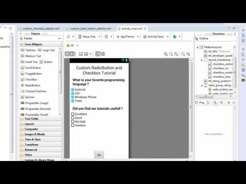 Android Tutorial : Custom RadioButton And CheckBox