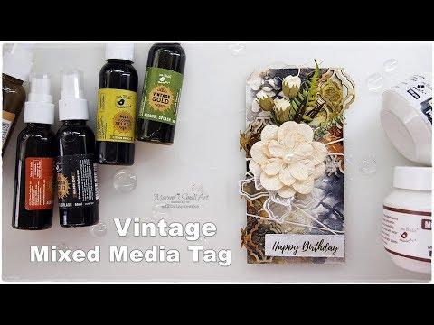 Mixed Media Vintage Tag Tutorial ♡ Maremi's Small Art ♡