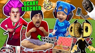 SCARY TEACHER GAME & the Invisible Picnic! FGTEEV finishes Bendy and the Ink Machine Chapter 5