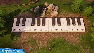Fortnite Battle Royale - All Sheet Music & Piano Locations / Solutions (Season 6 Challenge)