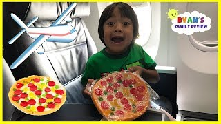 Gummy Pizza Candy Challenge Kid on the Airplane + Toy Hunt Swimming Pool with Ryan