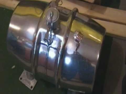 Polished aluminum keg gas tank