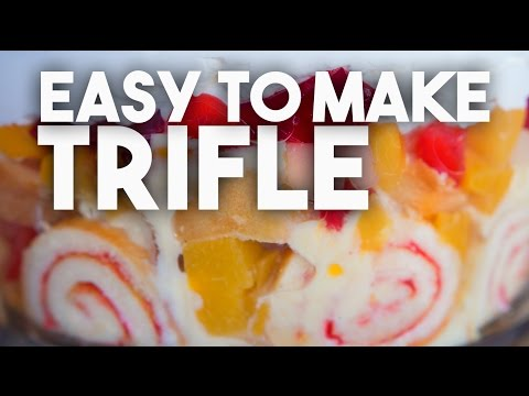 TRIFLE - Cake, Custard, Jelly cubes and fruit delicious combination