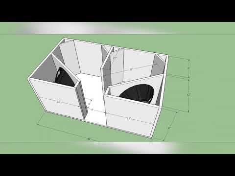 BOX PLAN Professional 4th Order Bandpass Bass Dual 15inch Subwoofer Box