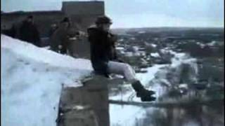 East European girl pushed of the roof