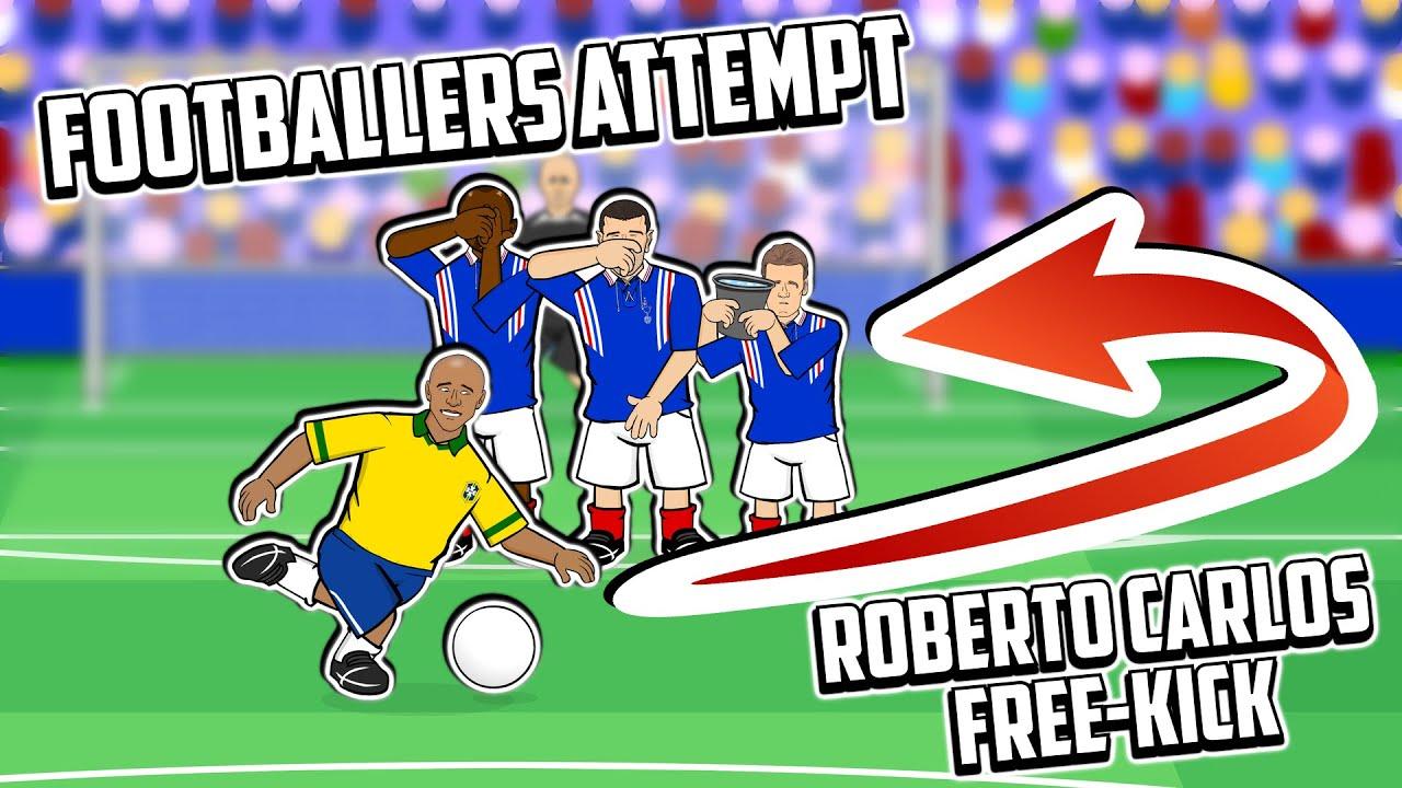 💥Roberto Carlos Free-Kick!💥  Footballers Attempt! Frontmen Season 1.7