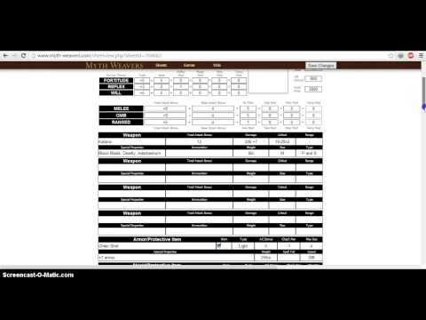 Mythweavers Character Sheet Tutorial