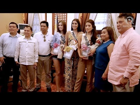 Miss Universe beauty queens welcomed by officials in Bohol