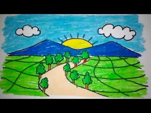 Menggambar Pemandangan Gunung Anak Tk Sd Kharasach Latest Video News