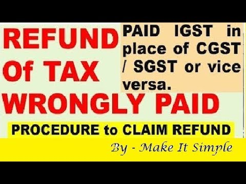 How to claim refund in GST ( Refund of tax,penalty & fee wrongly paid)
