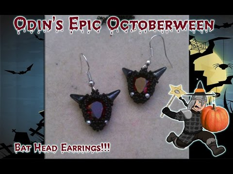 Bat Head Peyote Bezel Beaded DIY Earrings - Lessons With Odin