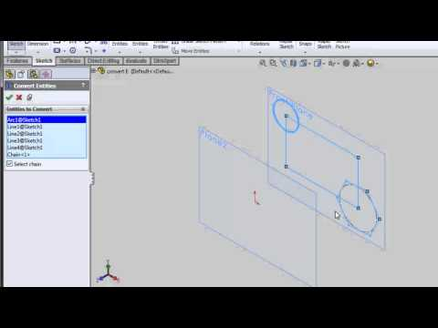 Convert Entities... Convert a sketch to a plane(s) Solidworks