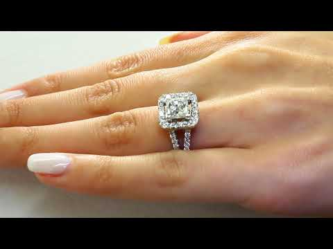 Princess Cut Diamond Engagement Halo Ring with Accents in White Gold (MVS0090-W)