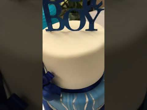 It's A Boy Marble Baby Shower Cake