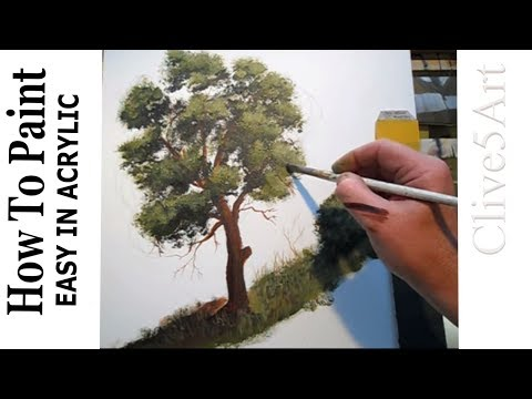 HOW TO PAINT A TREE, Acrylic Painting, Lessons,For Beginners, Learn to paint , acrylic painting