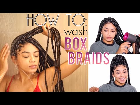 How To Wash Box Braids NO FRIZZ + Drying Hacks! | jasmeannnn