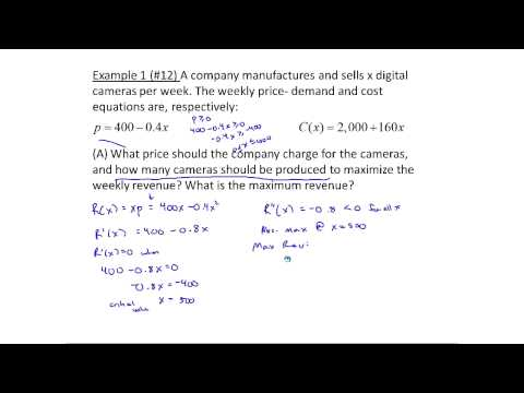 Exampless of Maximizing Profit and Revenue using Calculus (MTH 145 Section 5- 6)