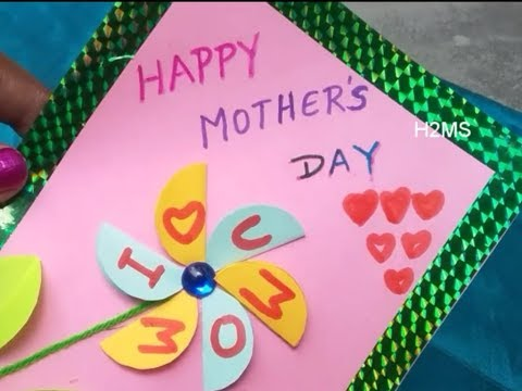 How to make simple & easy Mother's day greeting card at home, DIY paper craft, Greeting card making
