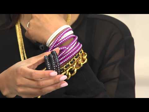 Steel by Design Crystal Leather Wrap Magnetic Clasp Bracelet with Gabrielle Kerr