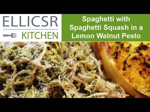 Spaghetti with Spaghetti Squash in a Lemon Walnut Pesto