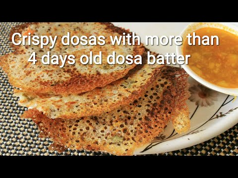 Crispy dosas with leftover idli dosa batter - Dosa recipe - Rava dosa with leftover idli dosa batter