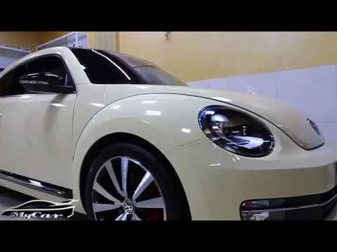 Volkswagen Beetle Wrapped with Sahara Beige vinyl