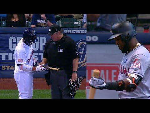 MIA@MIL: Teams ask umpire to check pine tar on bats