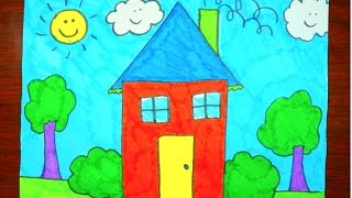 How To Draw A House   Kids Coloring Video