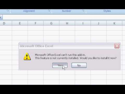 Install Solver and Data Analysis Tool Pack in Excel 2007