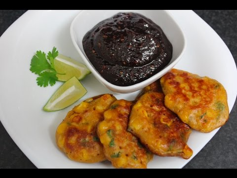 Sweetcorn Fritters with Chilli Jam recipe - quick vegetarian starter/snack
