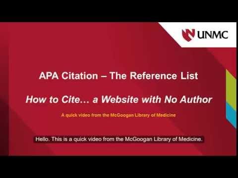 APA How to Cite a Website with No Author