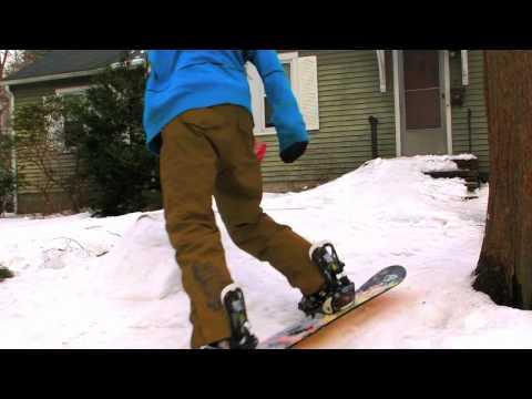 Backyard snowboarding - PVC pipe rail