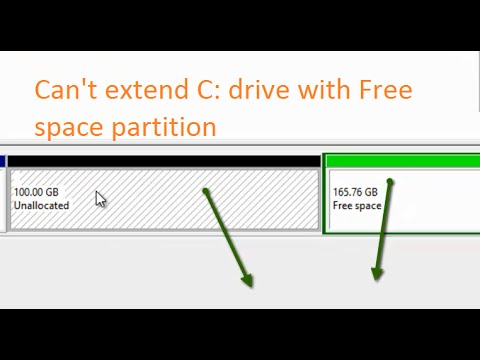 extend C drive with Unallocated space but not with Free space partition