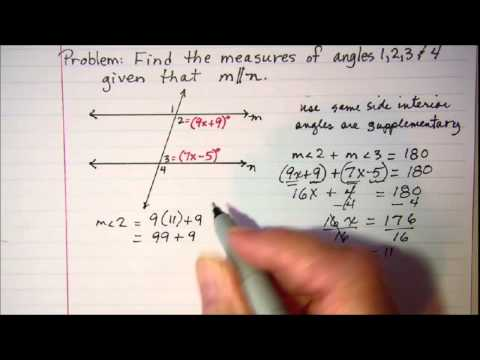 Solving problems involving parallel lines cut by a transversal