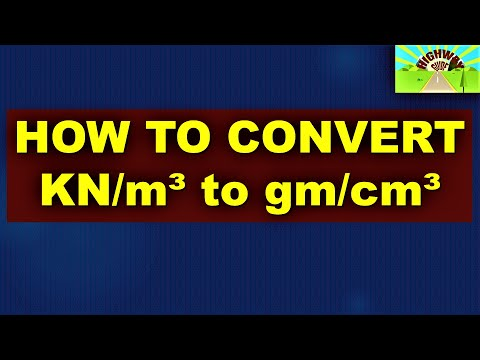 How To Convert  kN/m3 to gm/cm3