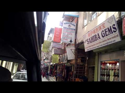 Driving in the Thamel area of Katmandu