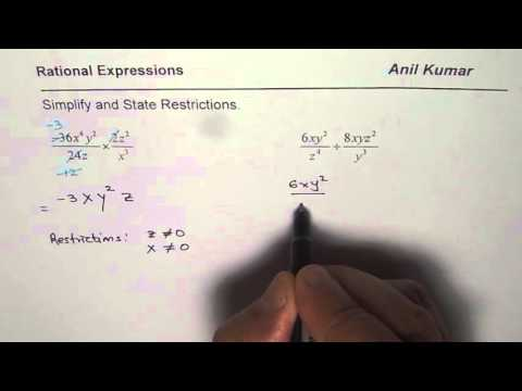 Simplify and State Restrictions of Product or Quotient of Rational Expressions