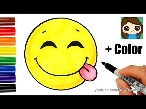 How to Draw a Silly Happy Face Emoji with Coloring Easy