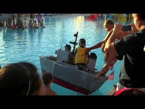 Our DIY Cardboard Battleship Sunk!    Konas Vlog    Konas2002