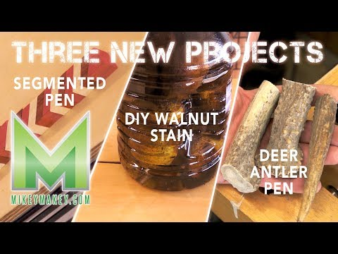 THREE NEW PROJECTS! DIY Walnut stain, Segmented Pen, and Deer Antler Pen