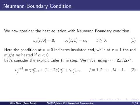 ch11 10. Heat equation with Neumann Boundary condition. Wen Shen