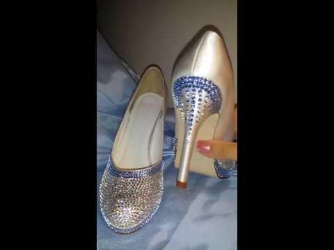 Swarovksi Crystal Encrusted Ivory Satin Bridal Shoes Size 6