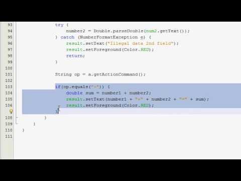 Java GUI Tutorial 15 - Simple calculator (Part 3 of 4)