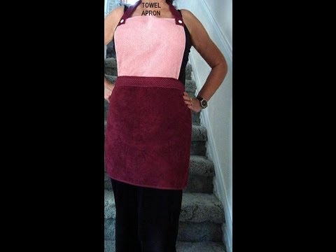 HAND TOWEL APRON, make an easy upcycled, repurposed garment. Sewing project. sewing for beginners