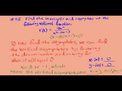 Finding asymptotes and intercepts of a rational function