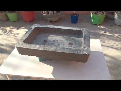 How to make cement pot at home in low cost , how to make bonsai pot at home