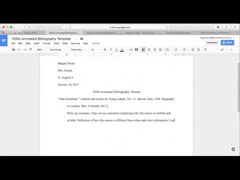 Annotated Bibliographies Format